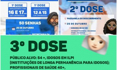 Porto Seguro: Cronograma de Vacinação contra a Covid-19; de hoje 25/10 20