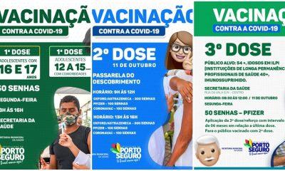 Porto Seguro: Cronograma de Vacinação contra a Covid-19; de hoje 11/10 19