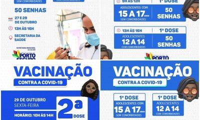 Porto Seguro: Cronograma de Vacinação contra a Covid-19; de 27 e 29 de outubro 19