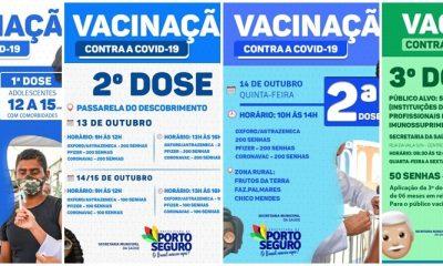 Porto Seguro: Cronograma de Vacinação contra a Covid-19; de 13 a 15/10 16